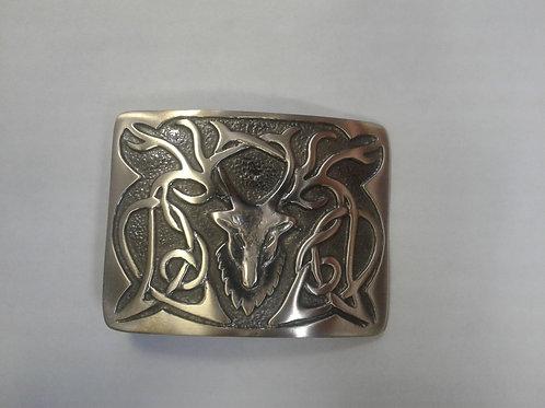 American Highlander Brass or Silver Stag Kilt Belt Buckle