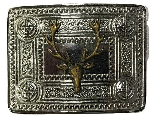American Highlander Brass or Silver Celtic Stag Kilt Belt Buckle