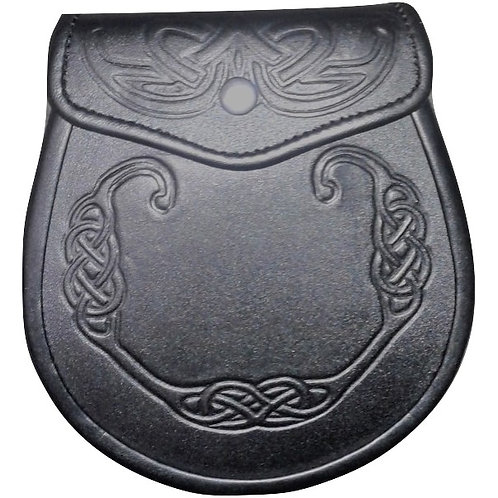 Black Premium Leather Celtic Wreath Sporran