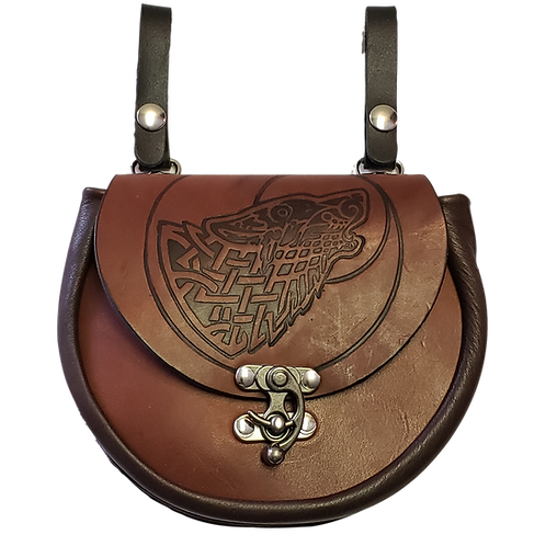 Brown Leather Premium Wolfhead Sporran