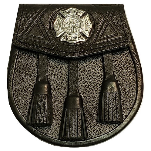 Black Leather Silver Badge Fire Department Sporran