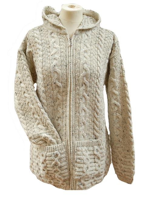 Aran Wool Long Zip Jacket with Hood
