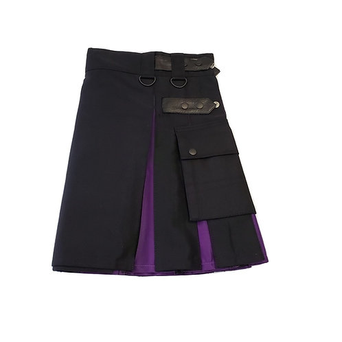 Women's Black & Purple Utility Kilt