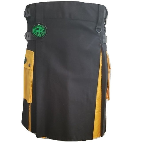 AH Black and Yellow Men's Hybrid Utility Kilt with Yellow Pockets