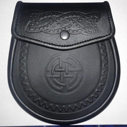 Black Premium Leather Celtic Circle Sporran