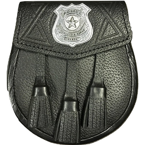 Black Leather Police Tassle Sporran