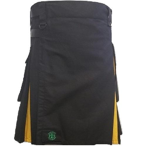 AH Black and Gold Men's Hybrid Utility Kilt