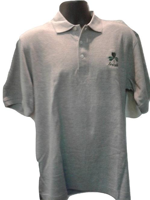 Grey Ireland Shamrock Polo Shirt