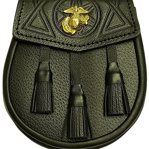 US Marine Corps EGA Shield Black Leather Sporran