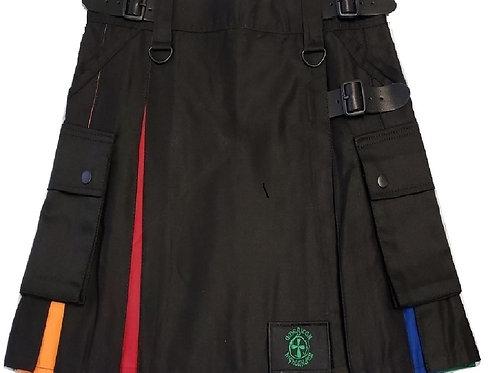 Women's Black Utility Kilt with Rainbow Pleats