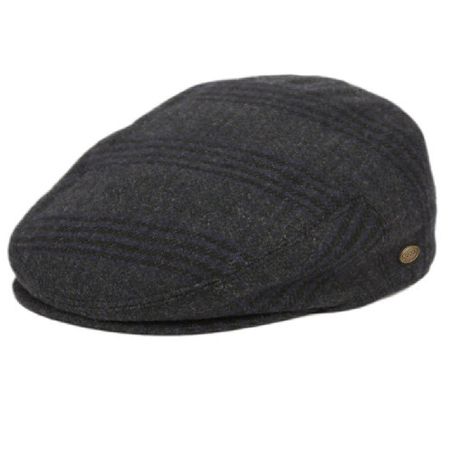 Navy Check Flat Cap