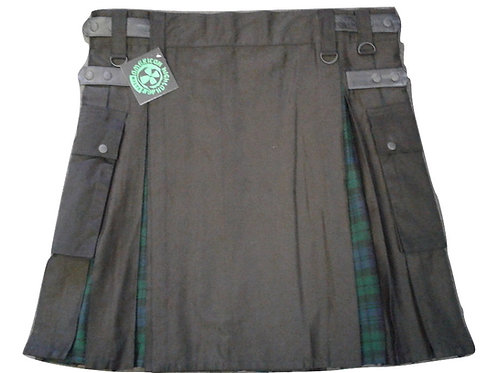 Black & Black Watch Men's Utility Kilt