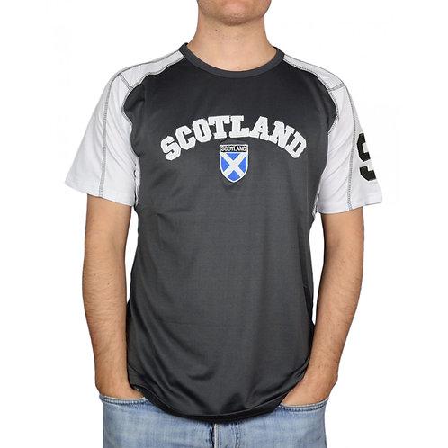 Embroidered Scotland Saltire Shield Grey Shirt