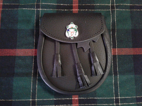 American Highlander AOH Shield Black Leather Sporran
