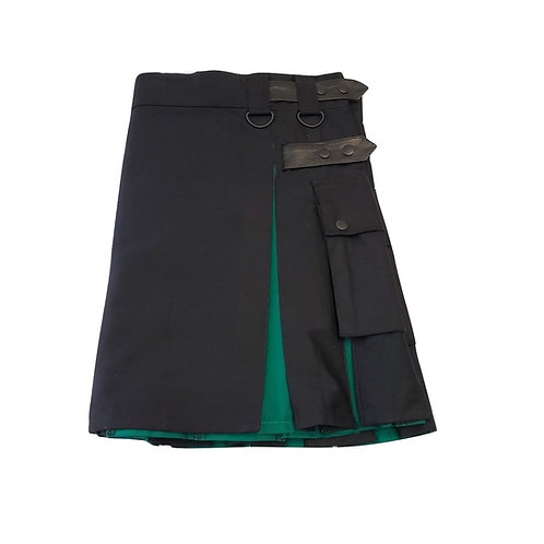 Women's Black and Irish Green Utility Kilt