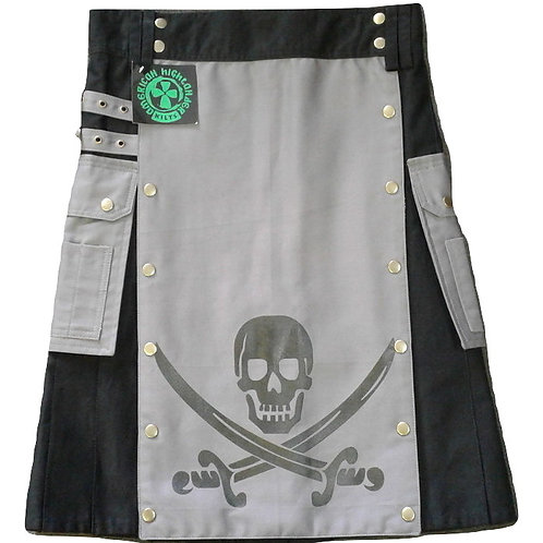 Pirate Skull Black & Grey Men's Utility Kilt