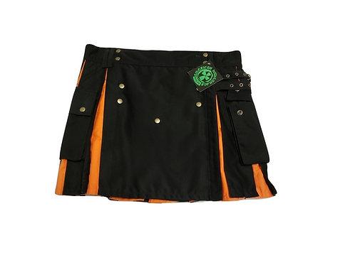 Women's Black & Orange Utility Kilt