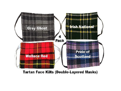 4-Pack of Face Kilts - One of Each Tartan Face Mask