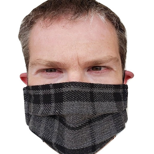 Grey Watch Face Kilt - Breathable Tartan Face Mask
