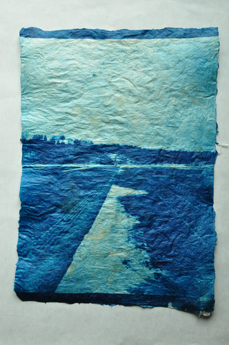 """""""Sky on the frontier"""" 辺境の空 Cyanotype Print on handmade Gampi Paper  H420×W297mm/H16.54×W11.69in  Edition 3/10"""