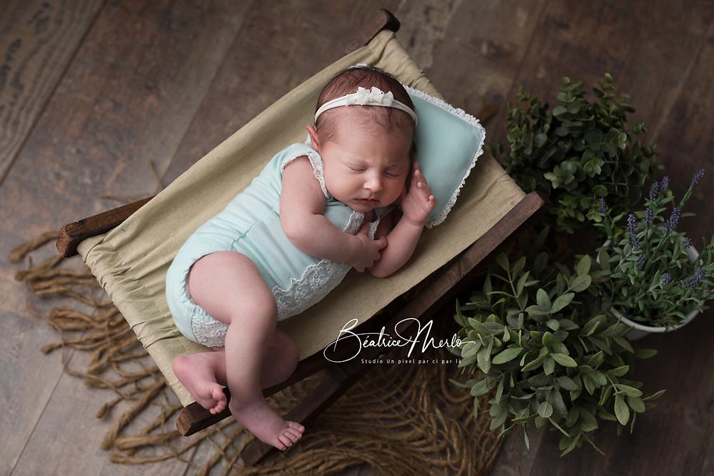 bébé transat séance naissance studio ambiance nature