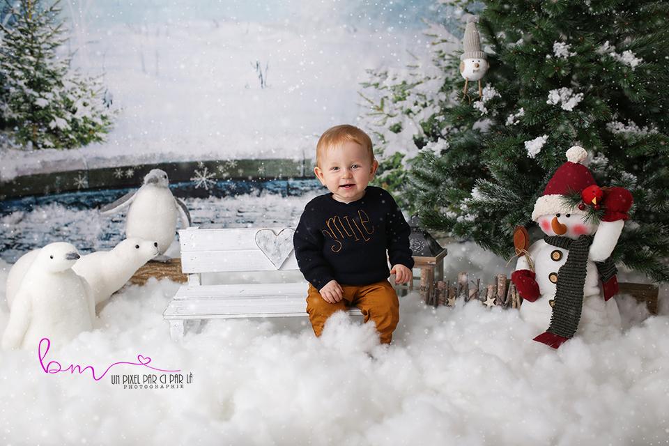 bebe banc noel neige ours pingouin