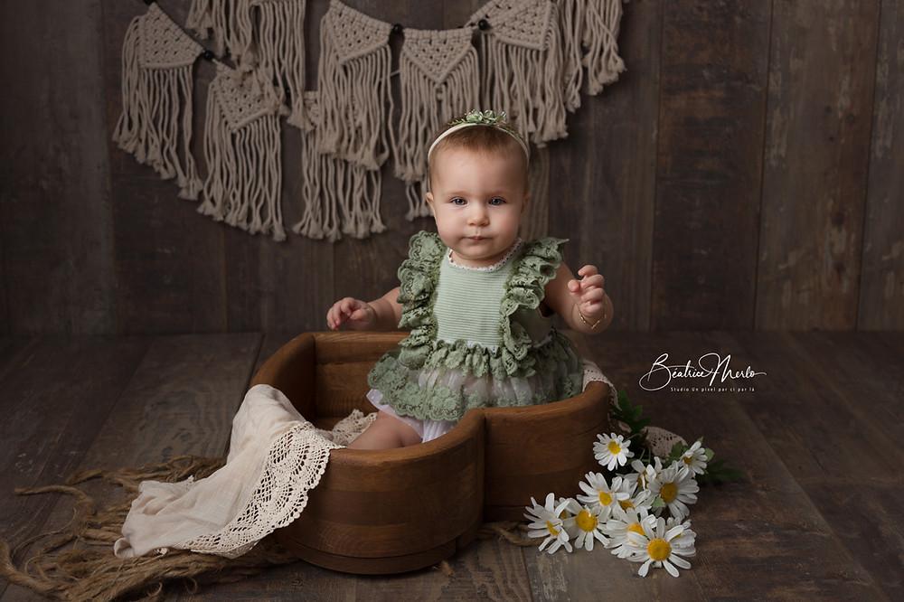 bébé fille robe dentelle coeur bois