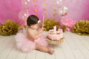 fillette tutu rose or gateau anniversaire 1 an