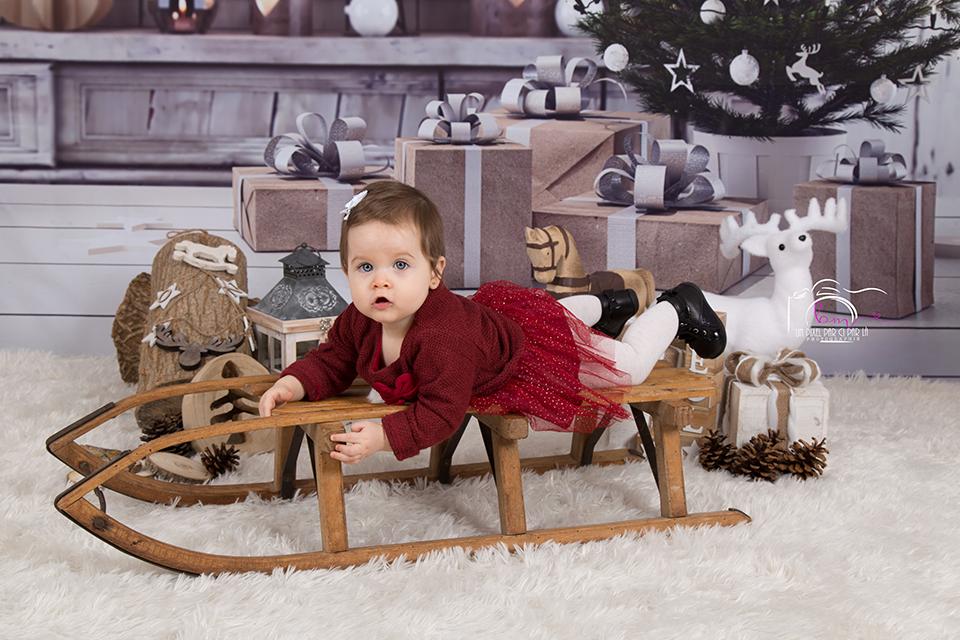Décor Noël mini séance photo bébé