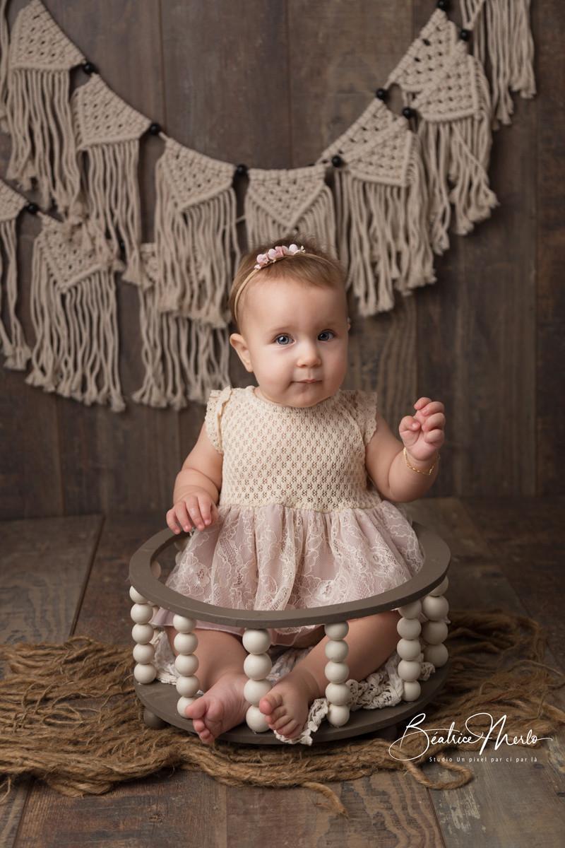 bébé fille macramé bohème bois