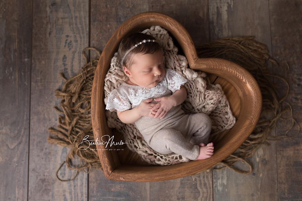 bébé naissance coeur bois bonheur dentelle