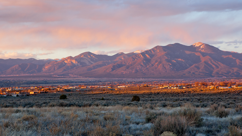 New Mexico Mountains and Town