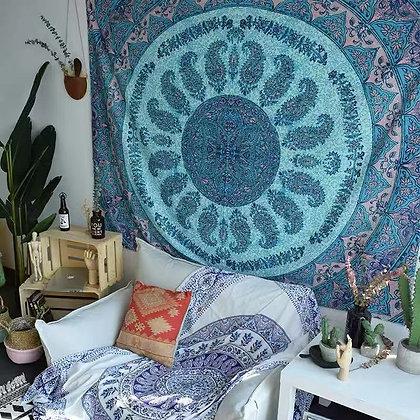 Blue Floral Mandala Tapestry