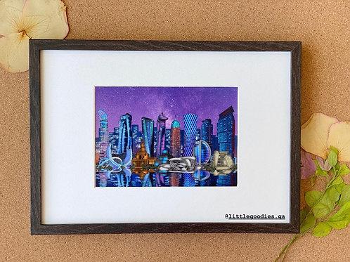 Doha Night Skyscraper Framed Artprint - A4