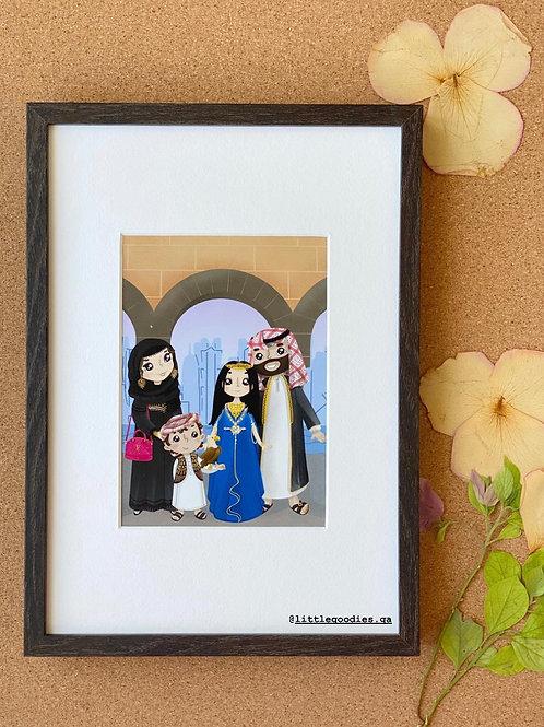 Qatar Family Framed Artprint - A4