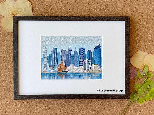 Doha Day Skyscraper Framed Artprint - A4