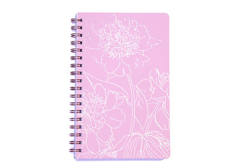 Peony Line Spiral Lined Notebook - A5, 160 Pages