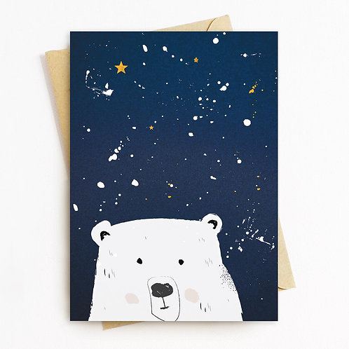 Midnight Bear Greeting Card - Blank Inside