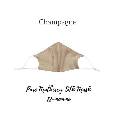 Champagne Pure Mulberry Silk Face Mask With 3 Complimentary Filters