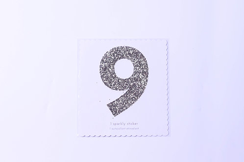 Number 9 Chunky Gold Sticker