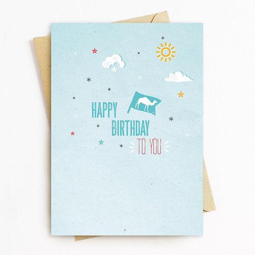 Birthday Camel Greeting Card - Blank Inside
