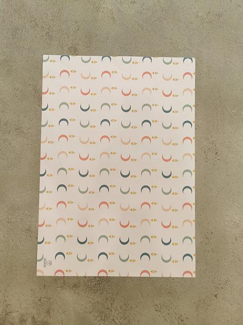 White Lantern & Crescent Wrapping Paper - 50X70CM