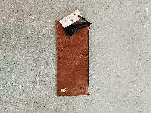 Cognac Luxury Italian Leather Pencil Case With Tassel