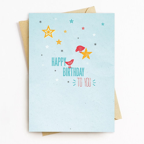 Happy Birthday Greeting Card - Blank Inside