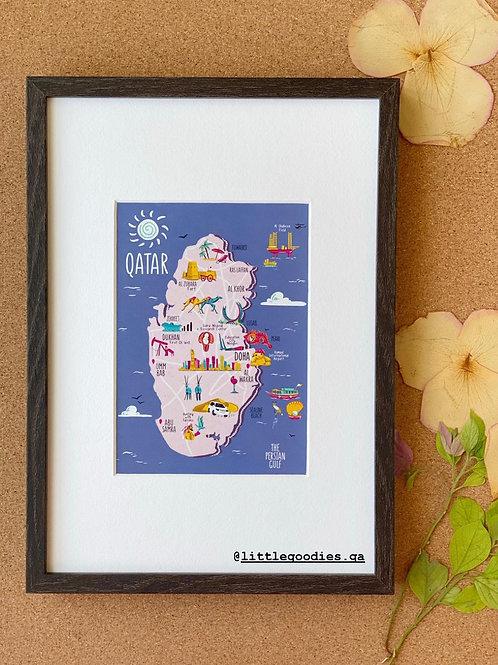 Qatar Map With Deep Blue Background Framed Artprint - A4