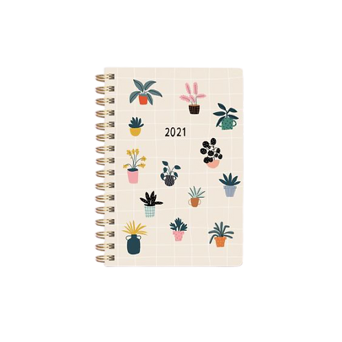 House Plants Soft Cover 17 Months Planner With Stickers - Aug 2020-Dec 2021