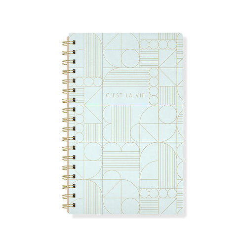 Art Deco Spiral Lined Notebook - A5, 160 Pages