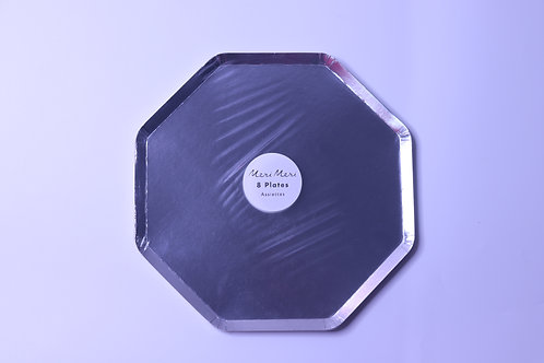 Silver Dinner Large Party Plates - 8 Pieces