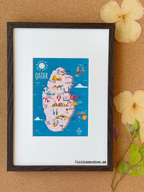 Qatar Map With Blue Background Framed Artprints - A4
