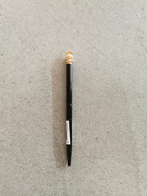 Gold Pineapple Black Ballpoint Pen - Blue Inked